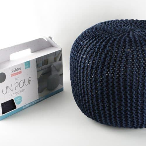 Kit DIY Je tricote mon pouf bleu marine Phildar - The Funky Fresh Project